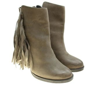 STEVE MADDEN Womens Tan Leather Fringe Ankle Boots